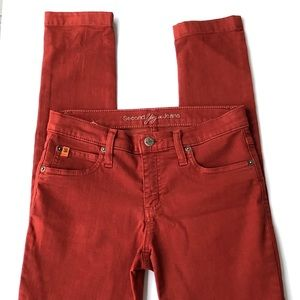 Second Yoga Skinny Jeans Maroon Size 26